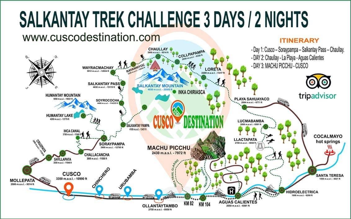 Salkantay Trek Challenge 3 Days   Alternative Hike To Machu ... on appalacian trail map, inca trail map, santa cruz trail map, mountain trail map, machu picchu trail map, huayna picchu trail map, tuckerman ravine trail map, fat man's pass trail map,